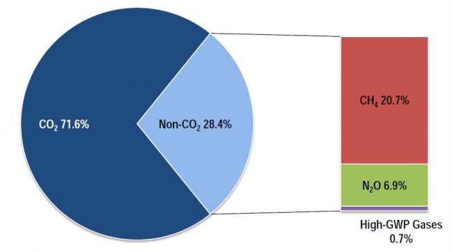 산업혁명 이후 지구온난화에 영향을 준 온실가스의 비율. 이산화탄소가 71.6%, 비이산화탄소가 28.4%를 차지하는 가운데, 비이산화탄소는 메탄, 아산화질소, 불화가스 순으로 큰 비중을 차지한다. - IPCC, Climate Change 2007: The Physical Science Basis 제공